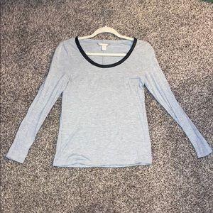 Banana Republic Grey Scoop Neck Long Sleeve Shirt